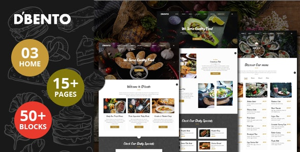 Dbento v1.0 - Food Restaurant HTML5 Template Product Image