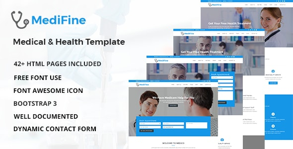 MediFine v1.0 - Health and Medical HTML Template Product Image