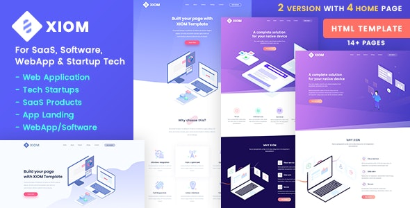 XIOM v1.0 – SaaS, Software, WebApp and Startup Tech HTML Template Product Image