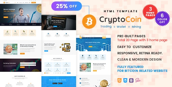 CryptoCoin v1.0 - Bitcoin Crypto Currency Wallet and Mining Template Product Image