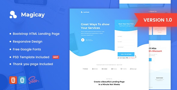 Magicay v1.0 - Business HTML Landing Page Template preview image