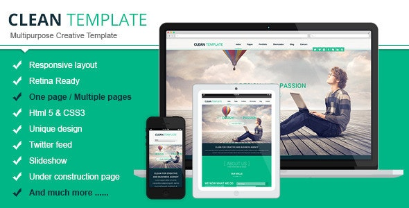 Clean Responsive Html Template v1.0 Product Image