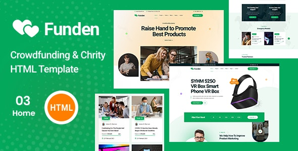 Funden v1.0 - Crowdfunding & Charity HTML5 Template Product Image