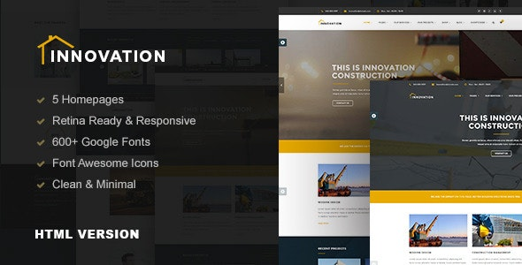 Innovation v1.0 - Construction, Building HTML Template Product Image