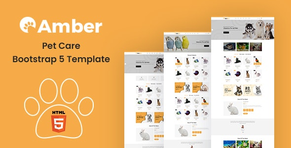 Amber v1.0 - Pet Care Bootstrap 5 Template Product Image
