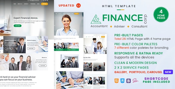 Finance Corp v1.1.1 - A Financial Services & Business Consulting Template Product Image