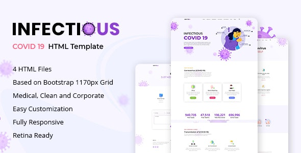 Infectious v1.0 - Coronavirus (COVID-19) Medical HTML Template Product Image