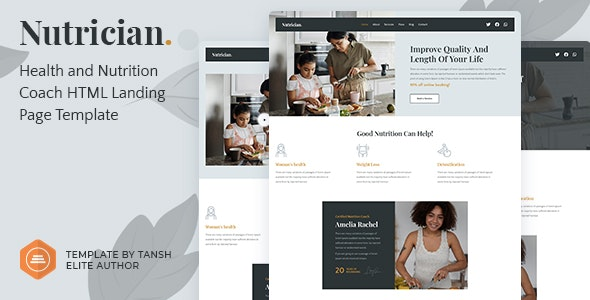 Nutrician v1.0 - Health and Nutrition Coach Feminine HTML Landing Page Template Product Image