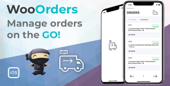 WooOrders - Woocommerce Order Manager For Mobile Written in Swift 4 Xcode IOS Product Image