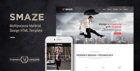 Smaze v1.0 - Multipurpose Material Design HTML Template preview image