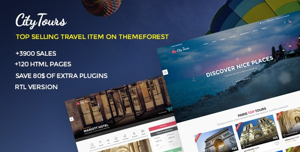 CityTours v5.1 - Travel and Hotels Site Template preview image