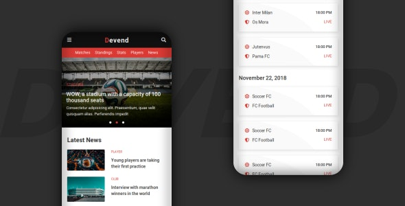 Devend v1.0 - Football & Soccer Mobile Template Product Image