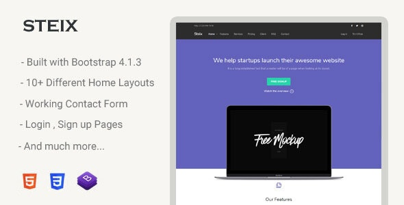 Steix v1.0 - Landing Page Template preview image