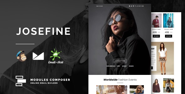 Josefine v1.0 - E-commerce Responsive Email for Fashion & Accessories with Online Builder preview image