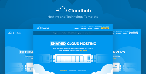 Cloudhub v1.17 - Hosting and Technology HTML Template preview image