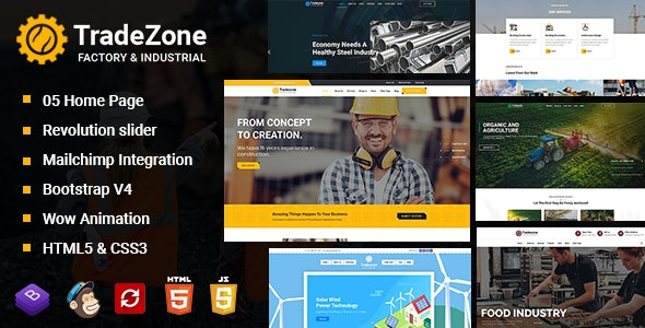 TradeZone v1.0 - Factory & Industrial One Page HTML Template preview image