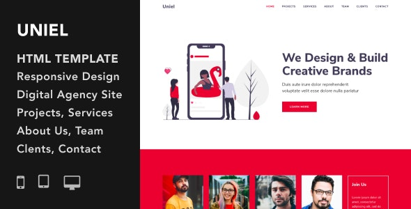 Uniel v1.0.0 - Digital Agency HTML5 Responsive Template preview image