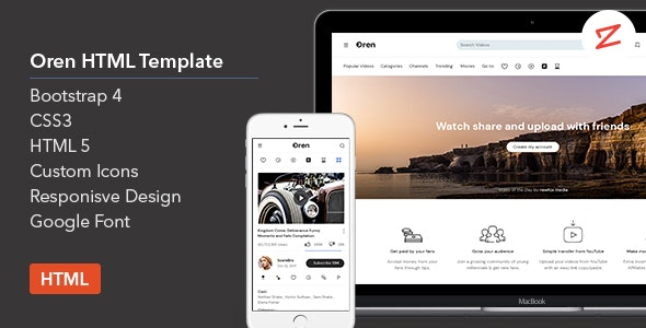 Oren v1.0 - A Video Sharing HTML Template preview image