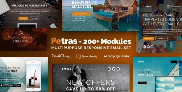 Petras 200 v1.0.1 - Multipurpose Email Set with MailChimp Editor, StampReady & Online Builder preview image