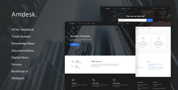 Amdesk v1.0.1 - HelpDesk and Knowledge Base HTML template preview image