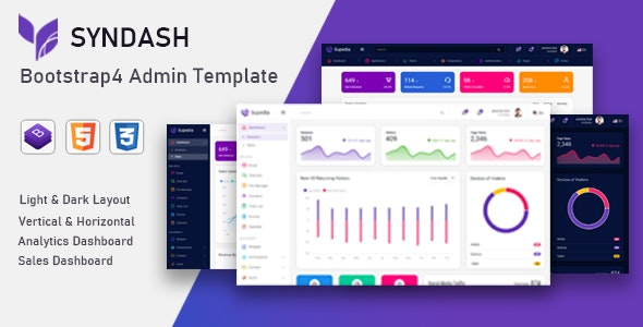 Syndash v1.0 – Bootstrap4 Admin Template preview image