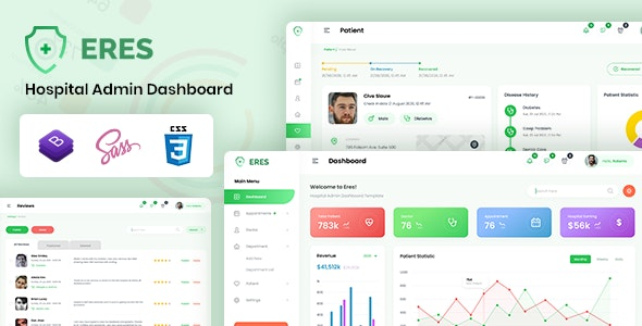 ERES v1.0 - Hospital Admin Dashboard Bootstrap HTML Template preview image