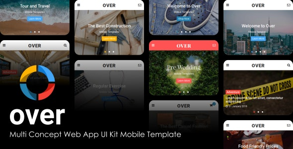 Over v1.0 - Multi-Concept Web App UI Kit Mobile Template preview image