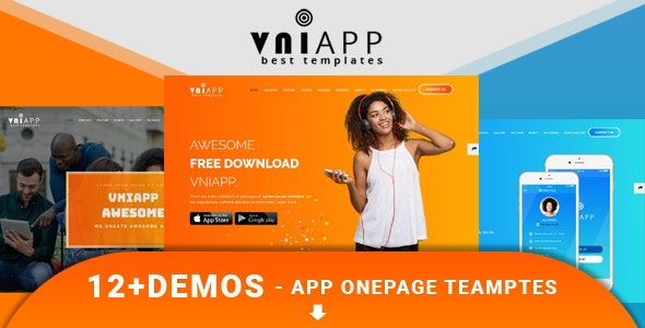 VniApp - Showcase Mobile App HTML Template preview image