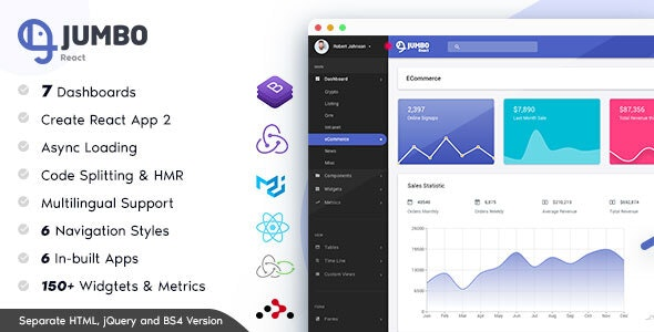 Jumbo React v3.0.1 - Redux Material BootStrap Admin Template preview image
