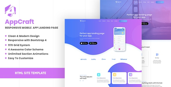 AppCraft v1.0 - Creative Template for Mobile App Landing Page preview image