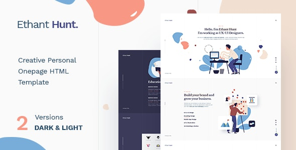 Ethant Hunt v1.0 - Personal Onepage HTML Template preview image