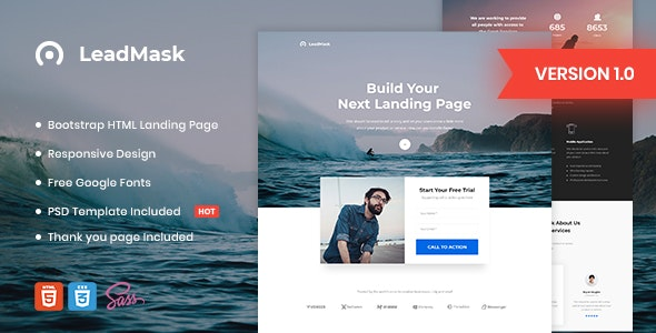 LeadMask v1.0 - Business HTML Landing Page Template preview image