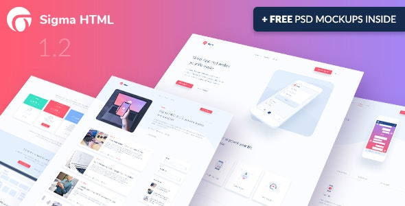 Sigma v1.2 - App Landing Page HTML Template preview image