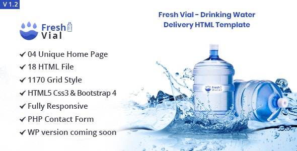 Fresh Vial v1.2 - Drinking Mineral Water Delivery Bootstrap4 HTML5 Template preview image