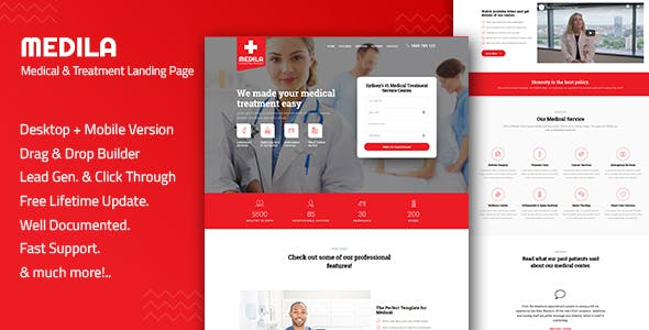 Medila v1.0 - Medical Treatment & Health Care Landing Page Template preview image