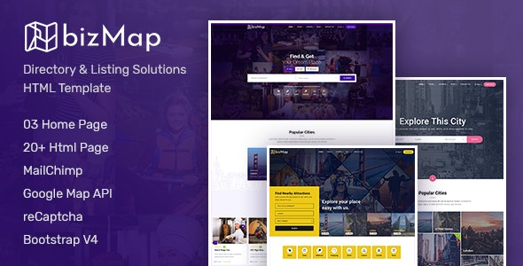 BizMap v1.0 - Business Directory Listing HTML Template preview image