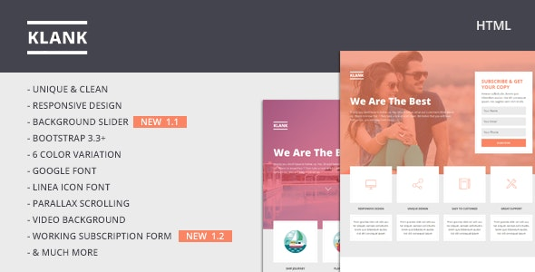 Klank v1.0 - Multipurpose Landing Page With Bootstrap preview image