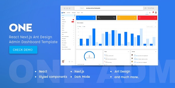 One v1.0 - React Next.js & Ant Design Admin Template preview image