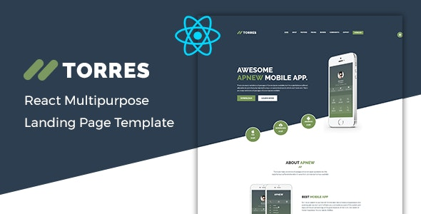 Torres v1.0 – React App Landing Page Template preview image