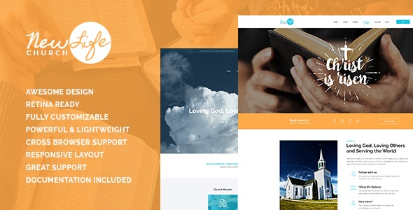 New Life v1.1 - Church & Religion Site Template preview image