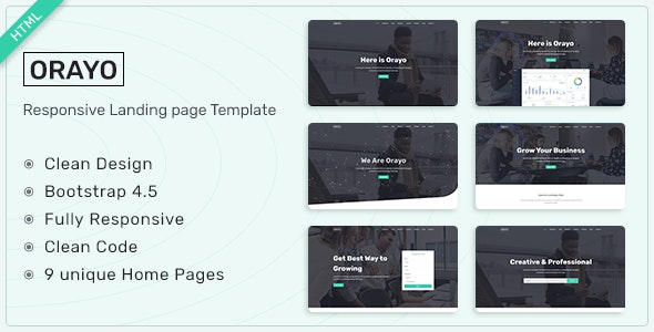 Orayo v1.0 - Responsive Landing Page Template preview image