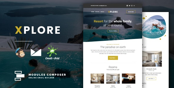 Xplore v1.0 - Responsive Email for Hotels, Booking & Traveling with Online Builder preview image