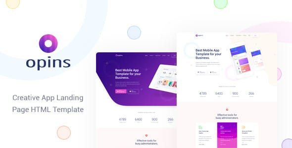 Opins v1.0 - Creative App Landing Page HTML Template preview image