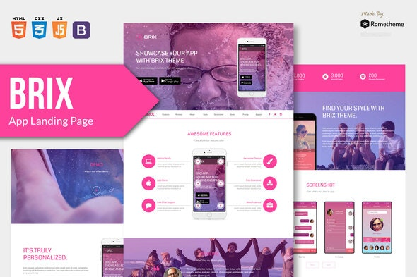 BRIX v1.0 - Mobile App landing page HTML Template preview image
