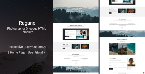 Ragane v1.0 - Photographer Onepage HTML Template Product Image