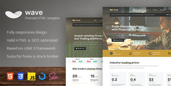 Wave v1.1.0 - Finance and Investment HTML Template preview image