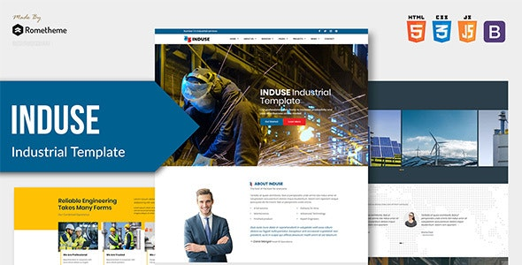 INDUSE v1.0 - Industrial Services HTML Template preview image