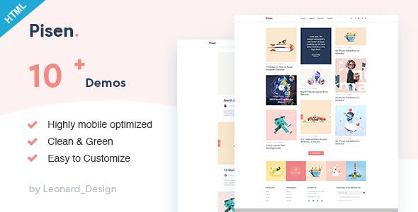 Pisend v1.0 - Minimalism Blog HTML5 Template preview image
