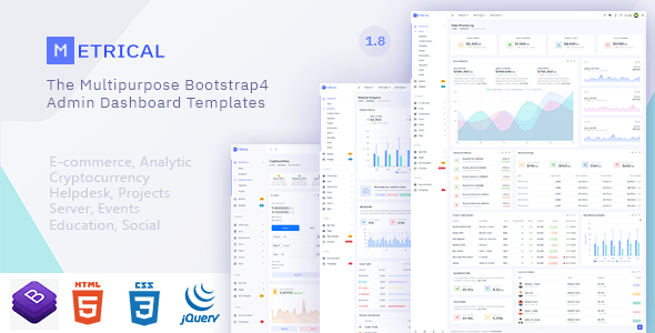 Metrical v1.8 - Multipurpose Bootstrap4 Admin Dashboard Template preview image