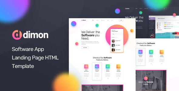 Dimon v1.0 - Software App Landing Page HTML Template preview image